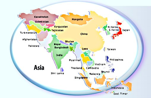 Asia Youth Hostels Hostels and Hotels in Asia Booking with – Map of the Oriental Countries